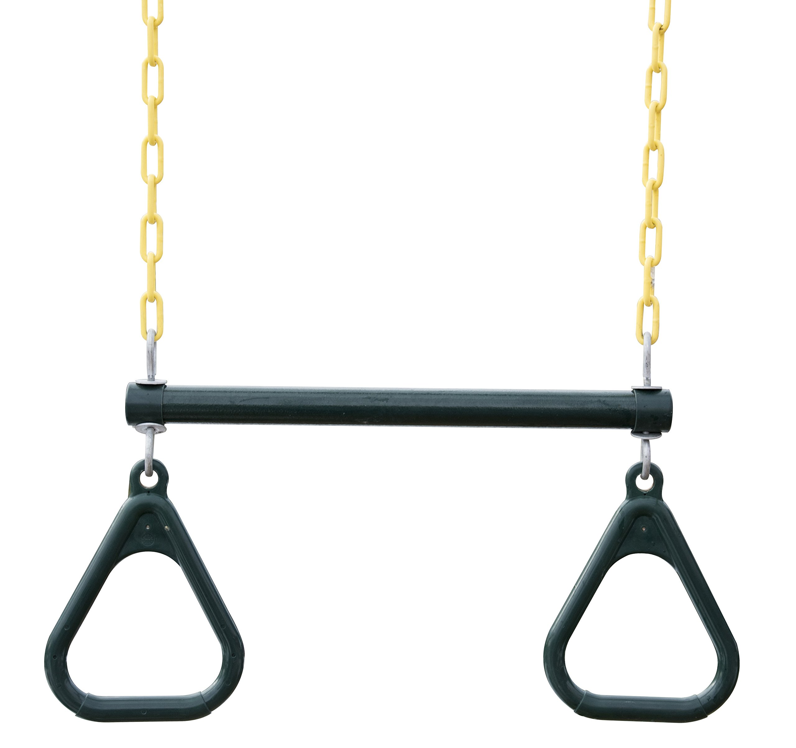 18'' Trapeze Bar with Rings - Heavy Duty Steel with Plastic Coated Chains by Squirrel Products