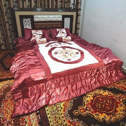 Satin Onion Color Wedding Bedding Set 8 Pcs (Quilt, Double Bed Sheet, 2