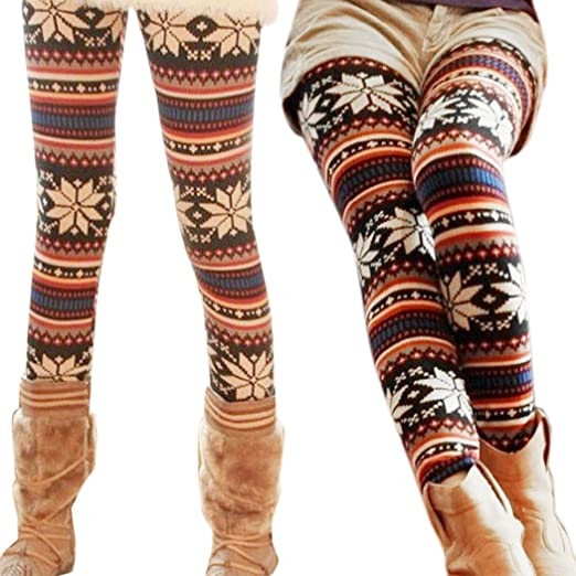 Sfy Knitted Colorful Crystal Pattern Leggings Tights Pants At Amazon