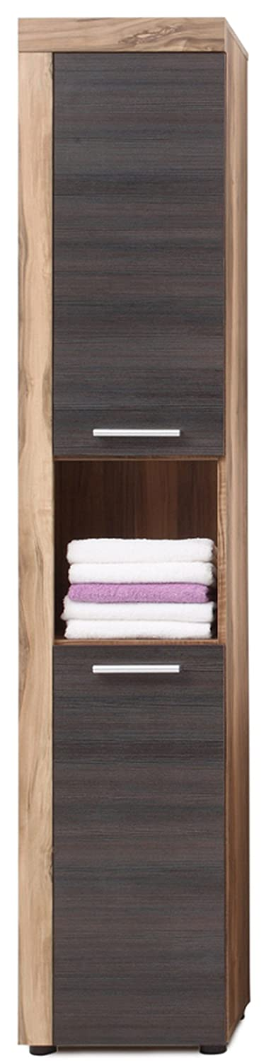 Furnline Cancun Walnut Satin Bathroom Furniture Tall Cabinet, Brown 1259-101-59