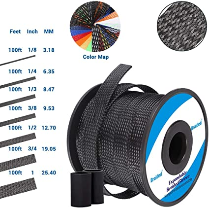 Alex Tech 3//8 inch Flexo PET Expandable Braided Sleeving BlackBlue 100ft