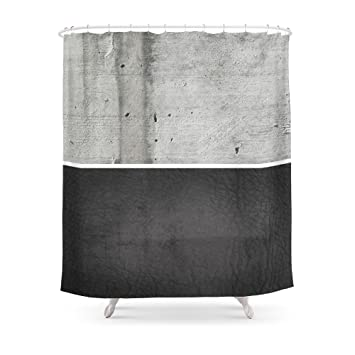 Society6 Raw Concrete And Black Leather Shower Curtain 71quot