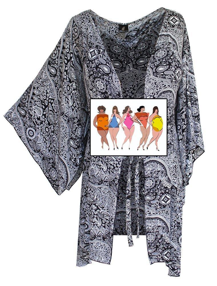 Fashion Fulfillment Womens Clothing Plus Size Kimono Tunic Cardigan, Kimono Sleeve, Plus Size 1X 2X 3X (One Size: 2X/3X, Black White Paisley) by Fashion Fulfillment (Image #3)