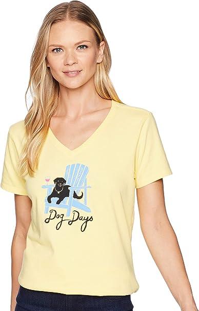 9fbe9685fc4461 Amazon.com: Life is Good Women's Adirondack Dog Crusher Vee: Clothing