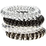 Claire's Girl's Metallic Black & Gray Coiled Hair Ties