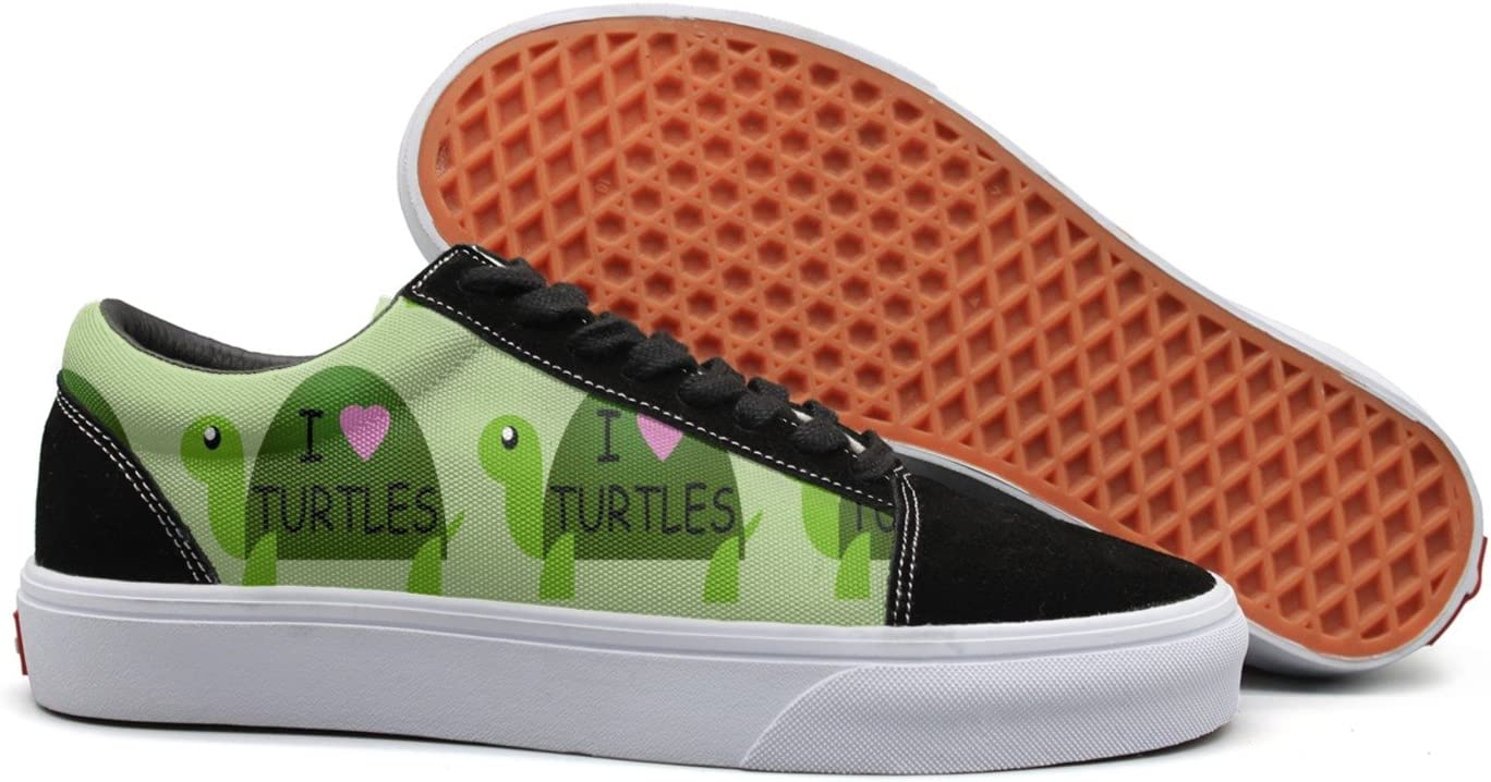 I Love Turtles Women Casual Sneaker Lace Up Shoe