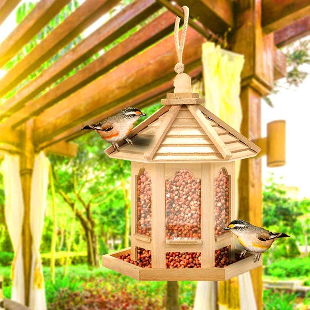 Dyyicun12 - Comedero para pájaros de madera para colgar para jardín, patio, decoración de jardín, forma hexagonal, con farol para colgar en el techo, para pájaros y alimentador de nueces