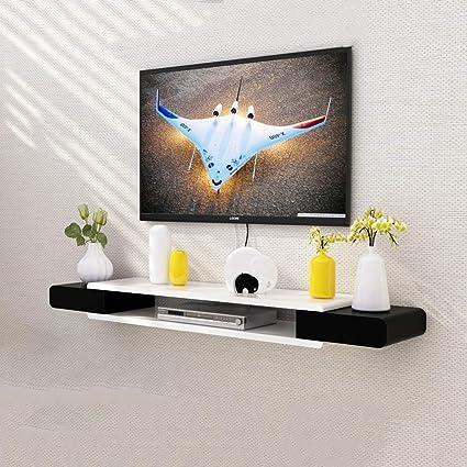Amazon.com: Wall Shelf Black White TV Cabinet Set Top Box Shelf ...