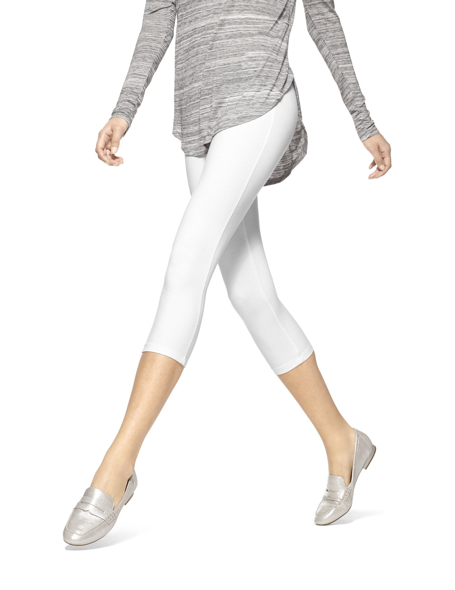 HUE Women's Temp Control Cotton Capri Leggings,White,Medium by HUE
