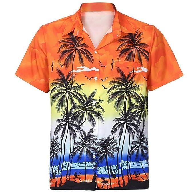 Yvelands Camisa Estampada Hawaiana Moda para Hombre Front-Pocket Beach Camiseta Estampada Floral tee Dress