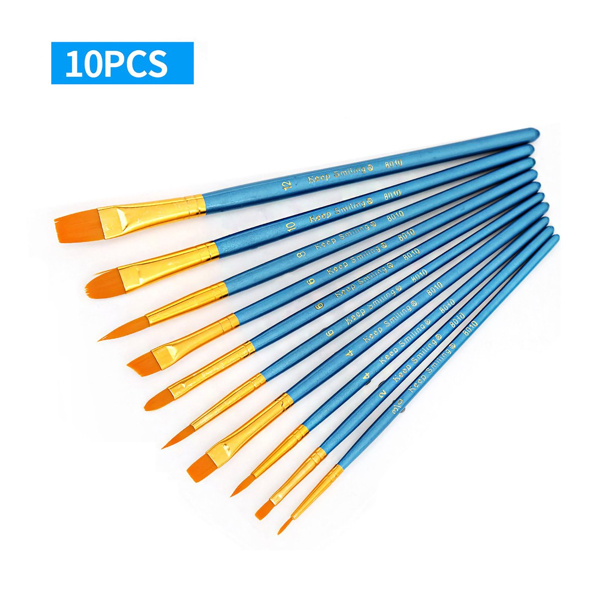 Dpijer 10pcs Artists Paint Brush Set Acrylic Watercolor Different Shape Round Pointed Tip Nylon Hair Painting Brushes