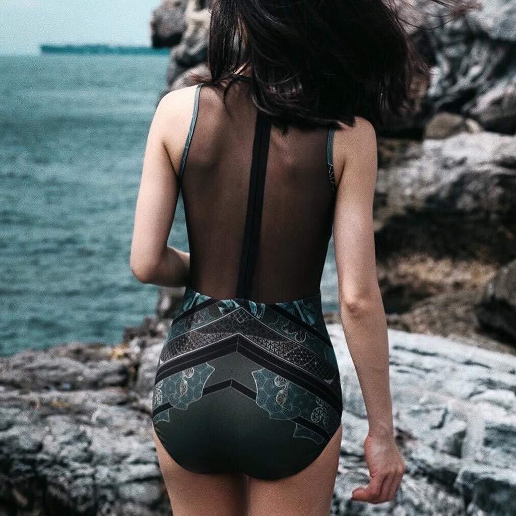 Hot!! Women Sexy Beach Suit GoodLock Ladies Fashion Ethnic Print Silk Mesh Bikini One-Piece Swimwear (Black, Small) by GoodLock (Image #3)