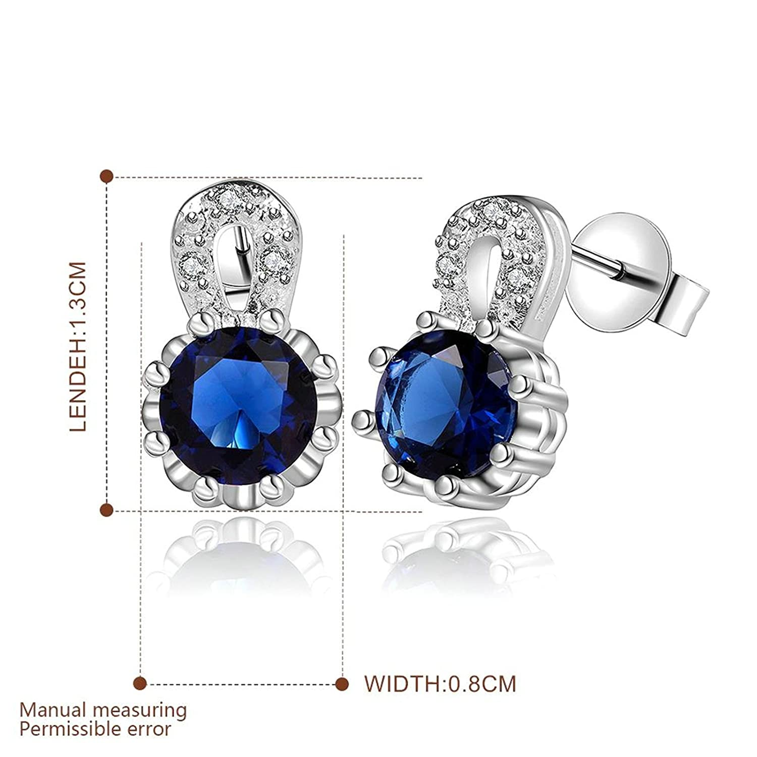 AmDxD Jewelry Silver Plated Stud Earrings for Women Round Blue 8X13MM