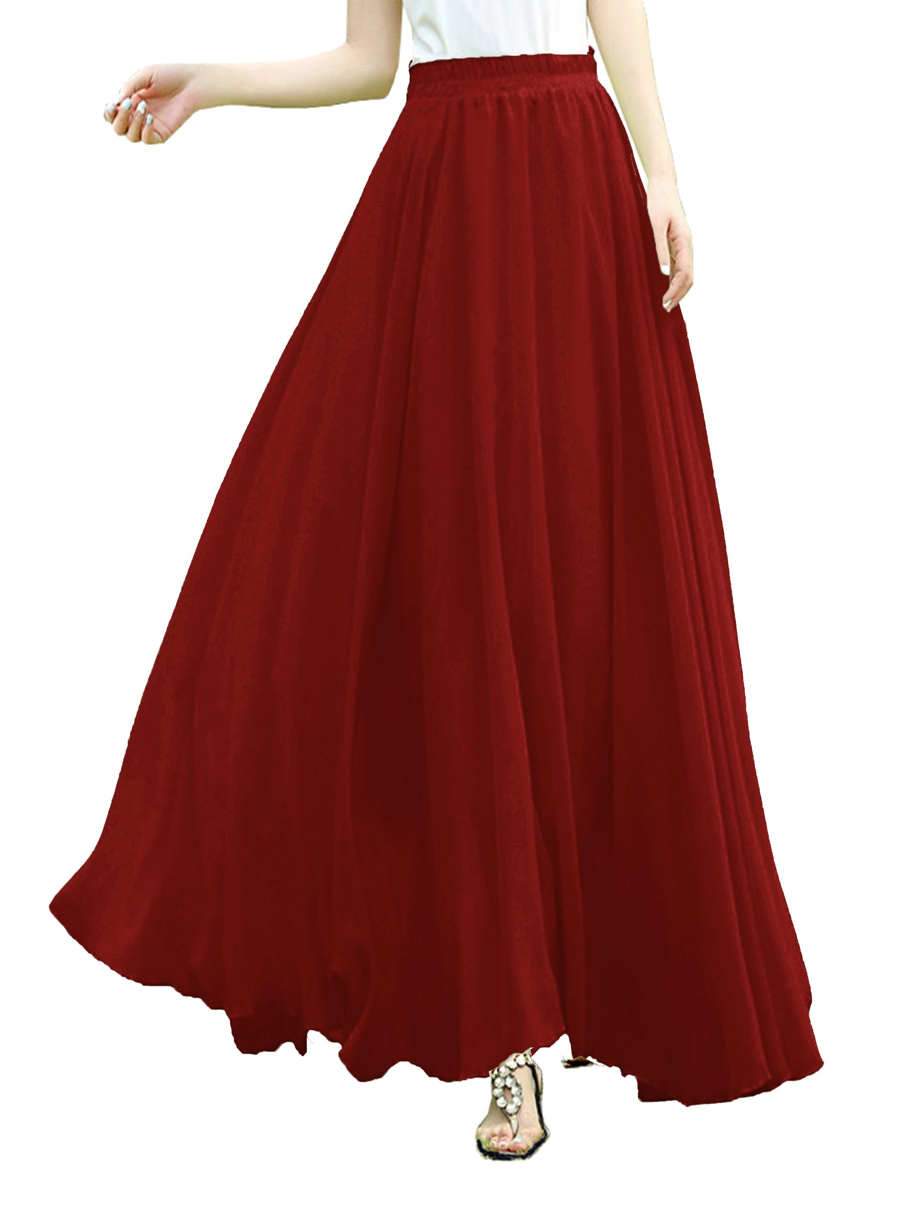 v28 Women Full/Ankle Length Elastic Pleated Retro Maxi Chiffon Long Skirt (XL,Wine)
