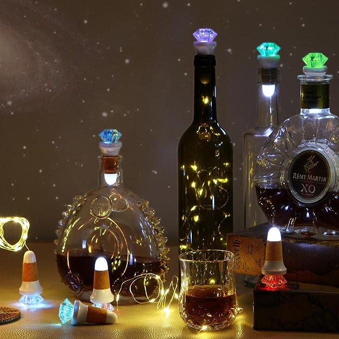 De botellas de vino de luces con corcho, batería Alimentado por cuerda iluminada con corcho para botellas de corcho Solar Hada de cuerda de alambre de cobre ...