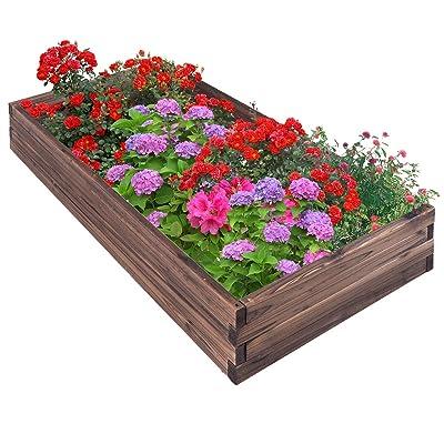 Giantex Raised Garden Bed Wood Outdoor Patio Vegetable Flower Rectangular Planter 47''Lx24''Wx9''H, (Brown) : Garden & Outdoor
