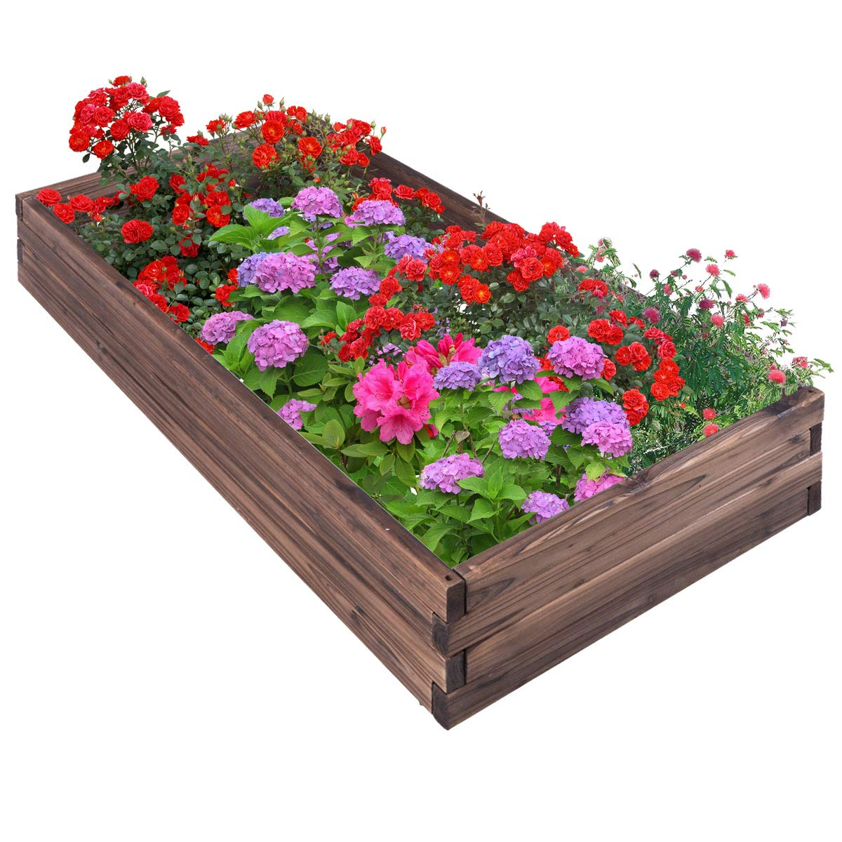 Giantex Raised Garden Bed Wood Outdoor Patio Vegetable Flower Rectangular Planter (Brown)