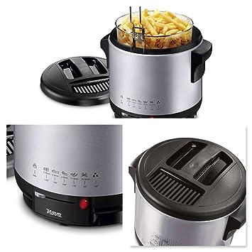 Freidora fritura esmalte de depósito filtro de olores fuerte 1900 W, redondo (2 l, resistencia, tapa desmontable, termostato regulable): Amazon.es: Hogar
