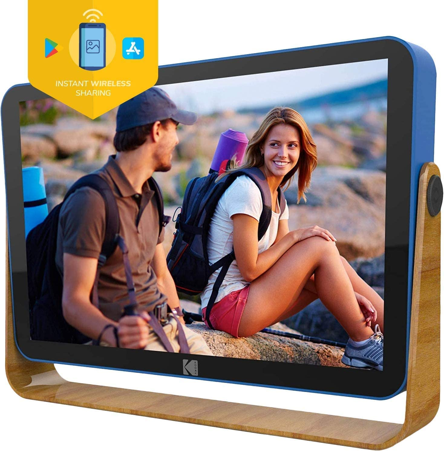 Kodak 10-Inch Smart Touch Screen Rechargeable Digital Picture Frame, Wi-Fi Enabled with HD Photo Display and Music/Video Support, Calendar, Weather and Location Updates (RWF-108) - Ocean Blue