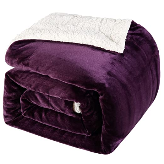 BLC Sherpa Blanket Reversible Fuzzy Fluffy Soft Warm Throw Plush Blanket 310GSM Flannel Top Bed and Couch Blanket(Purple, Queen)