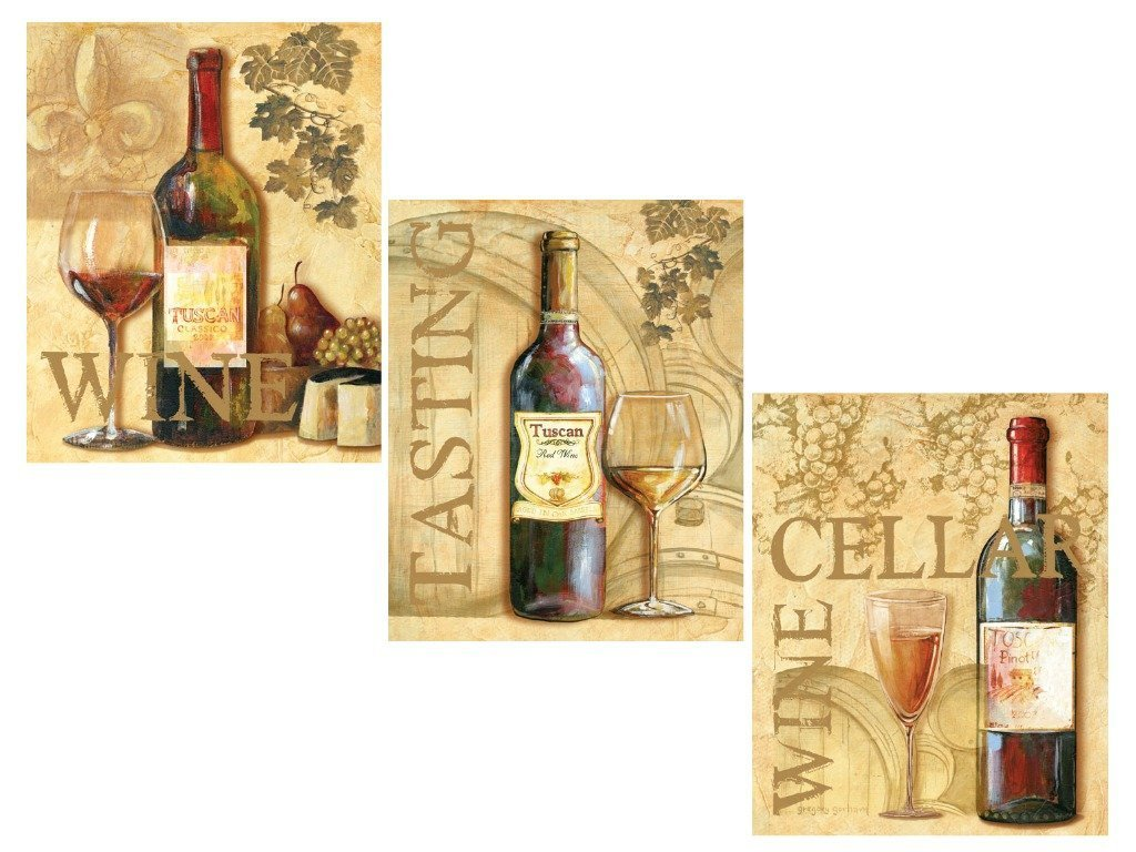 Amazon.com: 3 Wine Grape Art Prints Tuscany Posters Kitchen Decor ...