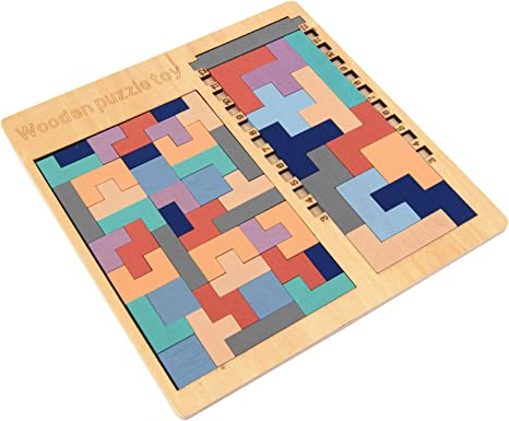Classic Wooden Tangram Brain Teaser Puzzle Toys Tetris Kids Baby Child Toy Comic