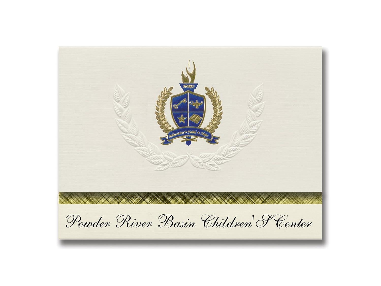 Signature Announcements Powder River Basin Children'S Center (Gillette, WY) Graduation Announcements, Presidential Elite Pack 25 with Gold & Blue Metallic Foil seal