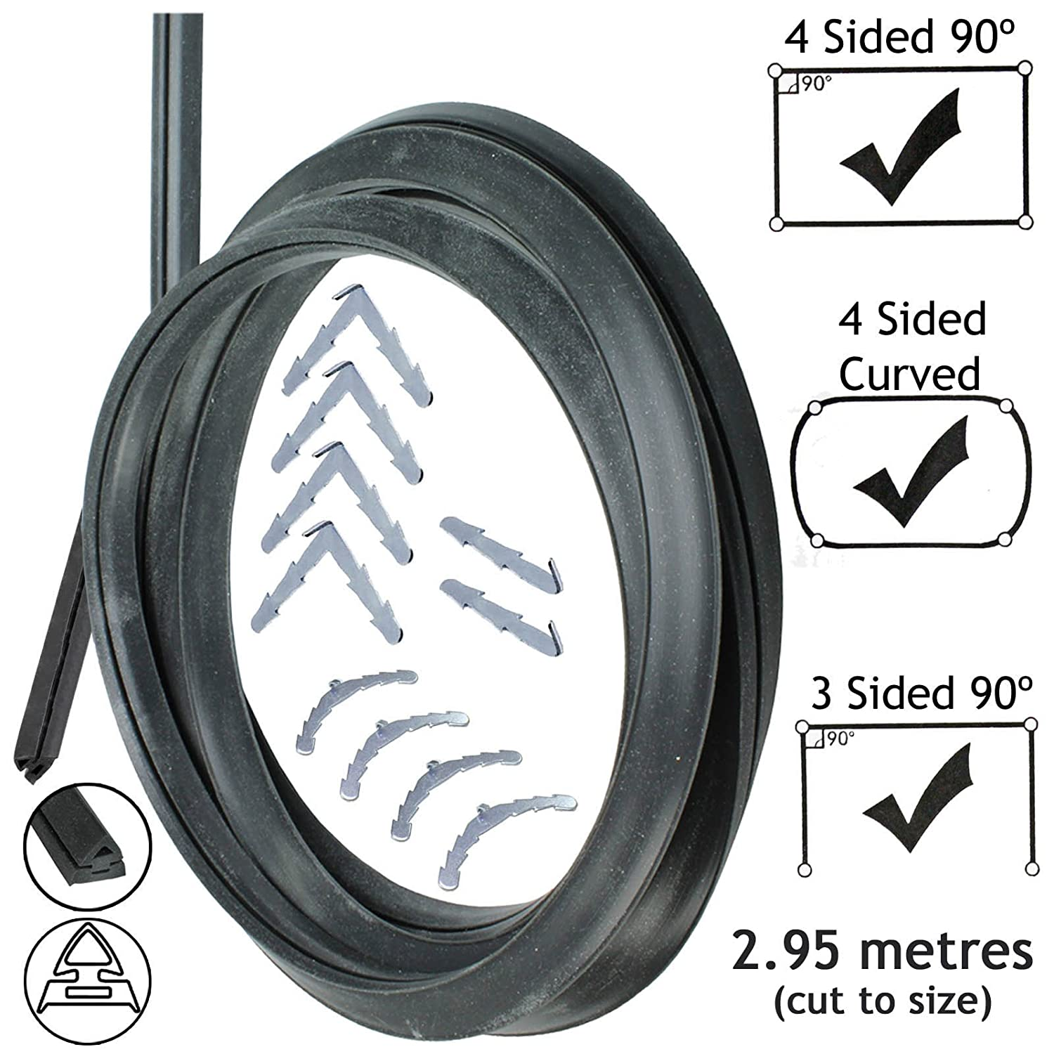 Spares2go 3m Cut to Size Door Seal For Haier 3 or 4 Sided Oven Cooker Rounded or 90º Clips