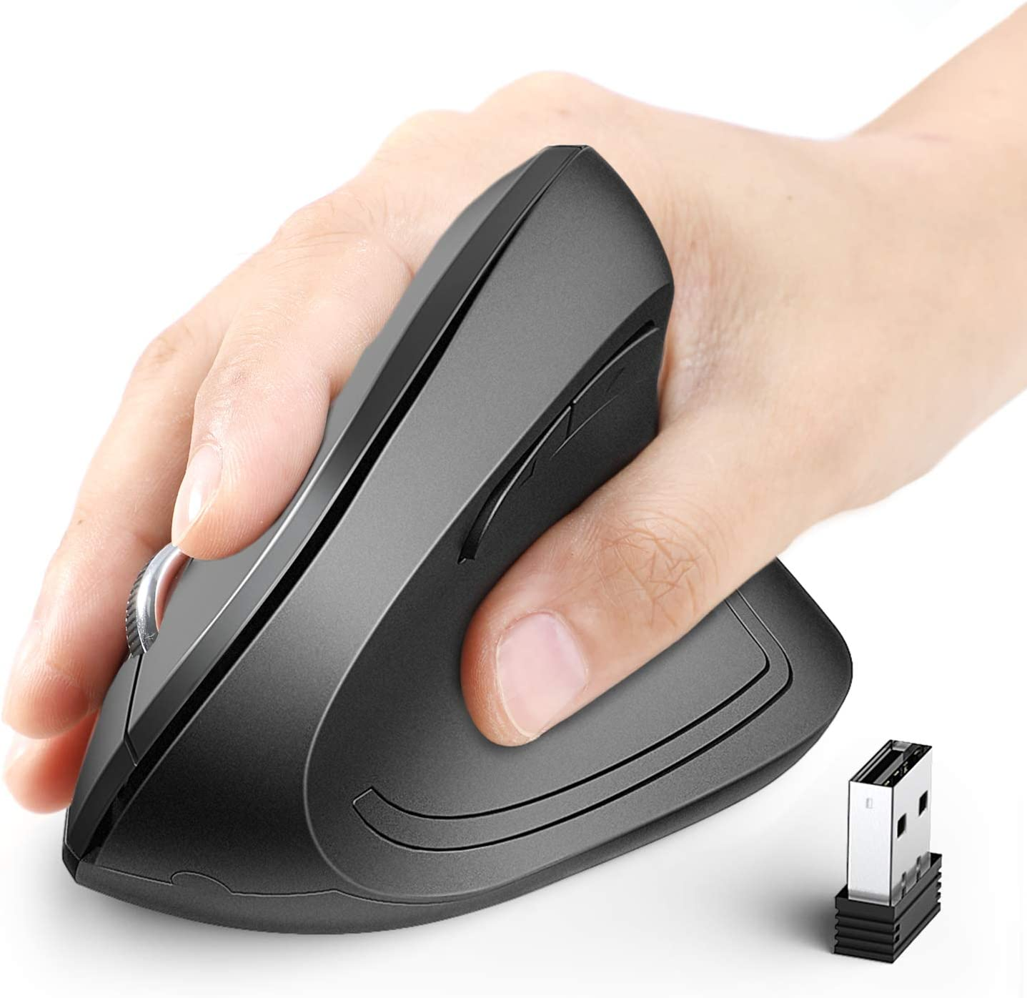 iClever Souris Ergonomique Verticale USB sans Fil 2.4G avec 4 Niveaux DPI Ajustables 1000//1600 2000//2400 et 6 Contr/ôles Lat/éraux pour Ordinateur Portable,Ordinateur de Bureau,Mac,Windows