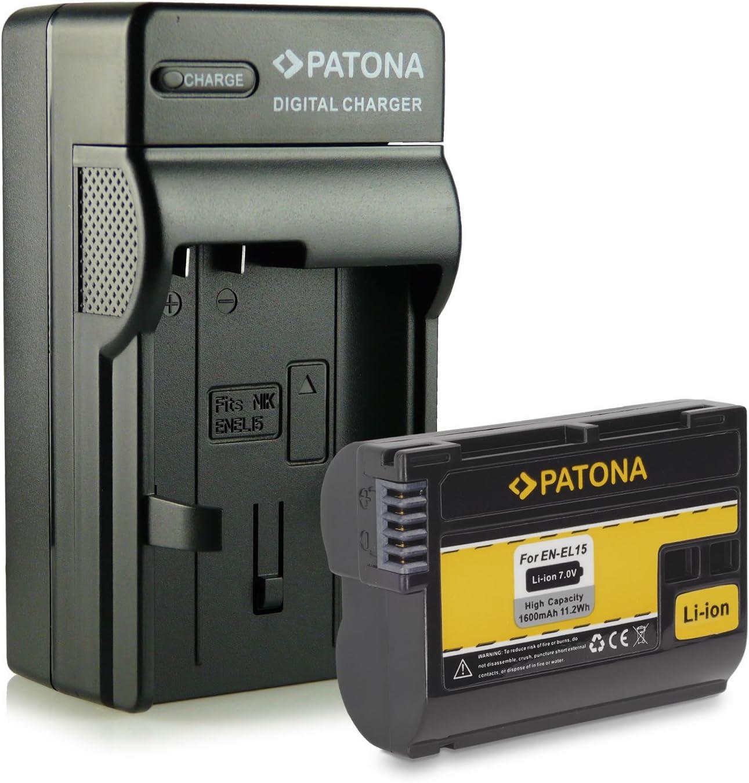 PATONA 4en1 Cargador + Batería EN-EL15 para Nikon 1 V1   D7000   D7100   D7200   D8000   D600   D610   D750   D800   D800E   D810   D810A   D810E