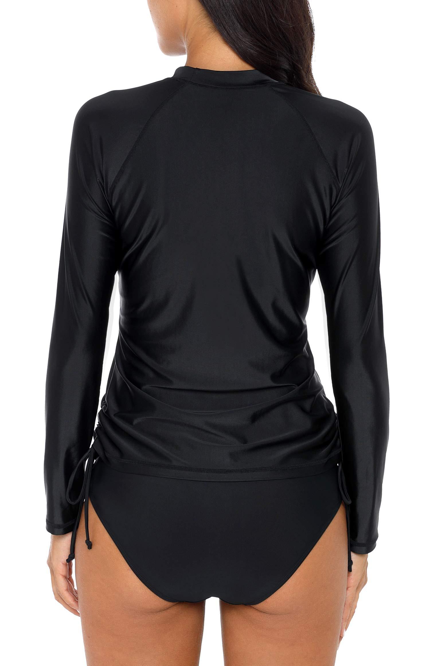 ALove Woman Long Sleeve Swim Shirt Quick Dry Rashguard Swim Top Black M by ALove (Image #3)