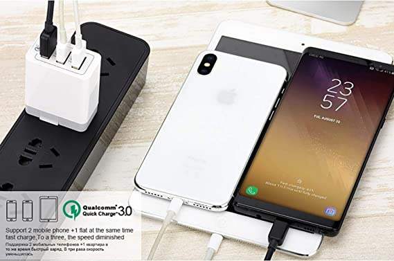 Note 4//5 8//9 LG G7//G6//G5 V20//V30 Multi-Port 3-USB-Plug Fast Charging Adapter f/ür Samsung Galaxy S10//S10e S9//S8//S7//S7//S6//Edge ZUZU Quick Charge 3.0 Wall Charger