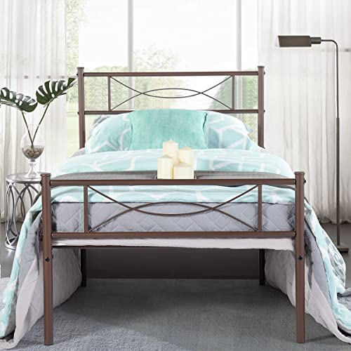 Brown metal bed SimLife Platform Headboard and Footboard