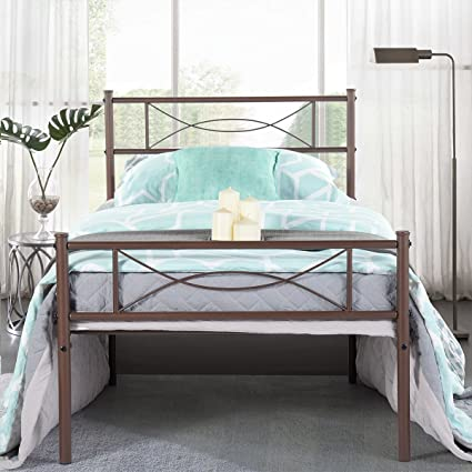 5bef47664cd Simlife Stable Metal Bed Frame Twin Size 6 Legs Two Headboards Mattress  Foundation Steel Platform Bed