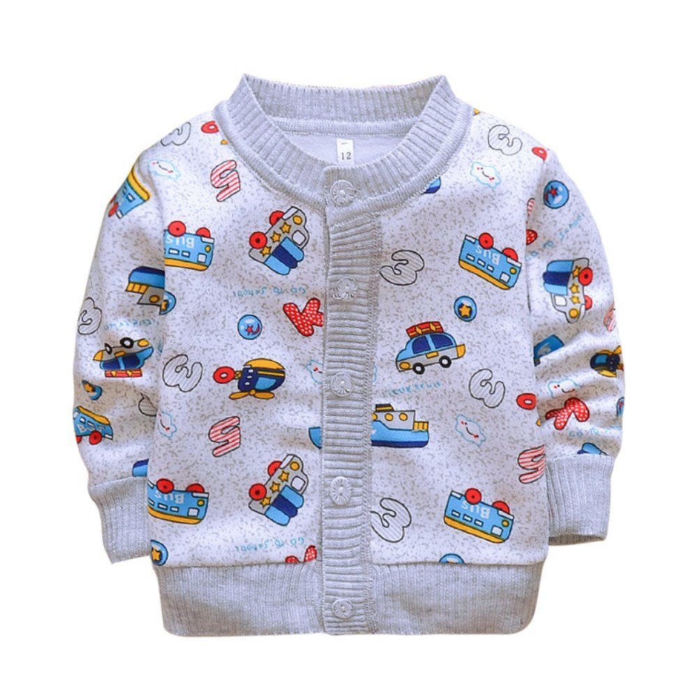 BOBORA Baby Girl Boy Spring Autumn Cardigan Long Sleeve Cartoon Prints Warm Fleece Knitwear BO-UK665