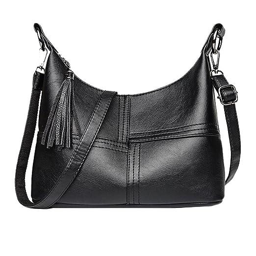 WILLTOO Clearance Womens Tassel Splice Totes Handbag Crocodile Leather  Crossbody Shoulder Bags (Black) 3d362ac1e