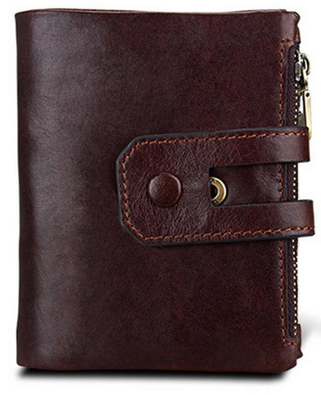 Men's RFID Blocking Crazy Horse Leather ID Window SD Memory Card Zipper Coin Pocket Bifold Wallet, Free Gift Box, Red Brown, b2w006ch