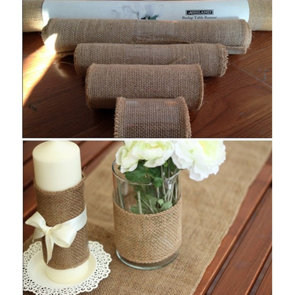 IBuyi 10M Hessian Burlap Ribbon Roll, Rustic Natural Wedding Table Runner Chair Decor Vintage Shabby Chic, Jute Burlap Table Runner for Home Banquet (15CM)