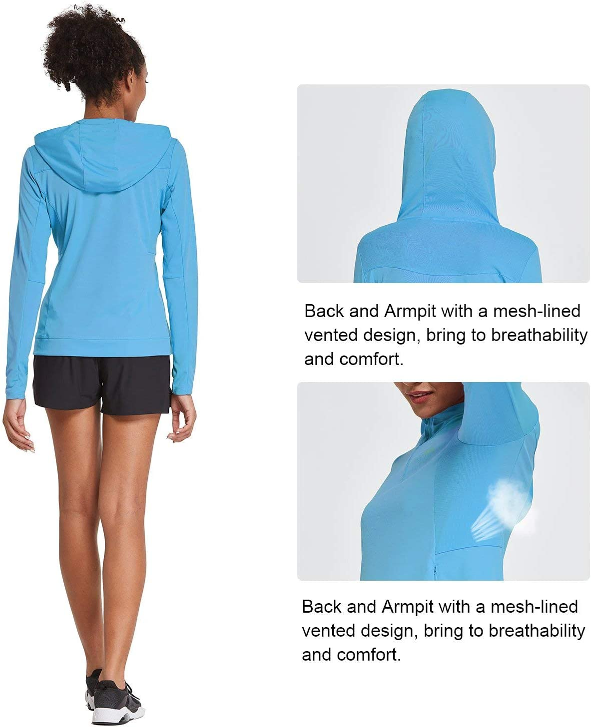 Sun Protection Hooded Shirt Long Sleeve Athletic Quick Dry Tops BALEAF Womens UPF 50