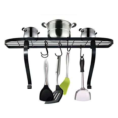 VANRA Wall Mounted Bookshelf Pot Rack Kitchen Pan With 10 Hooks Black