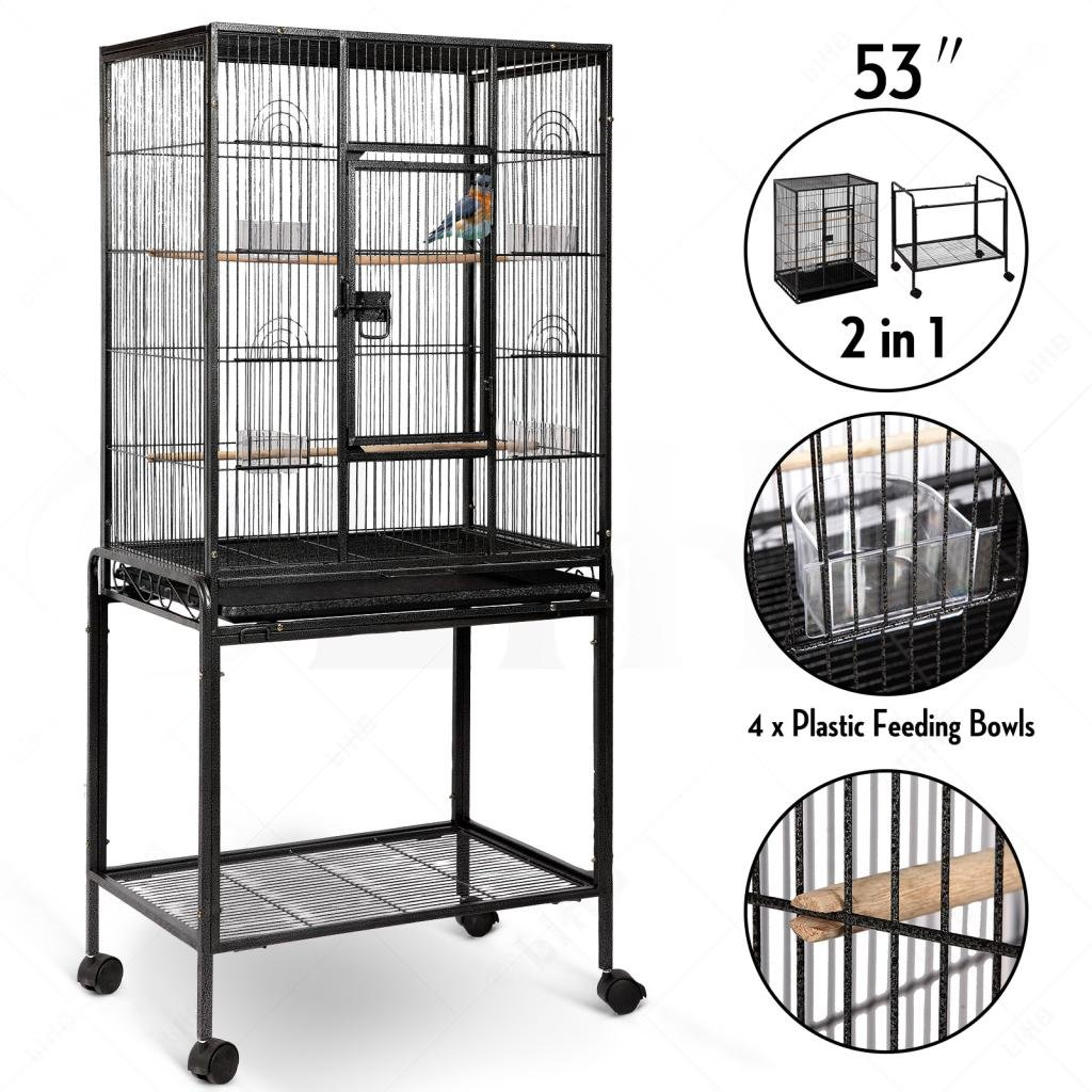 Idealchoiceproduct Large Brid Flight Cage Portable Parrot Cages Pet Supplies Birdcages Parrot Finch Macaw Cockatoo Large Birdcage Stands W//Casters Wheels 25x17 x 53'' High