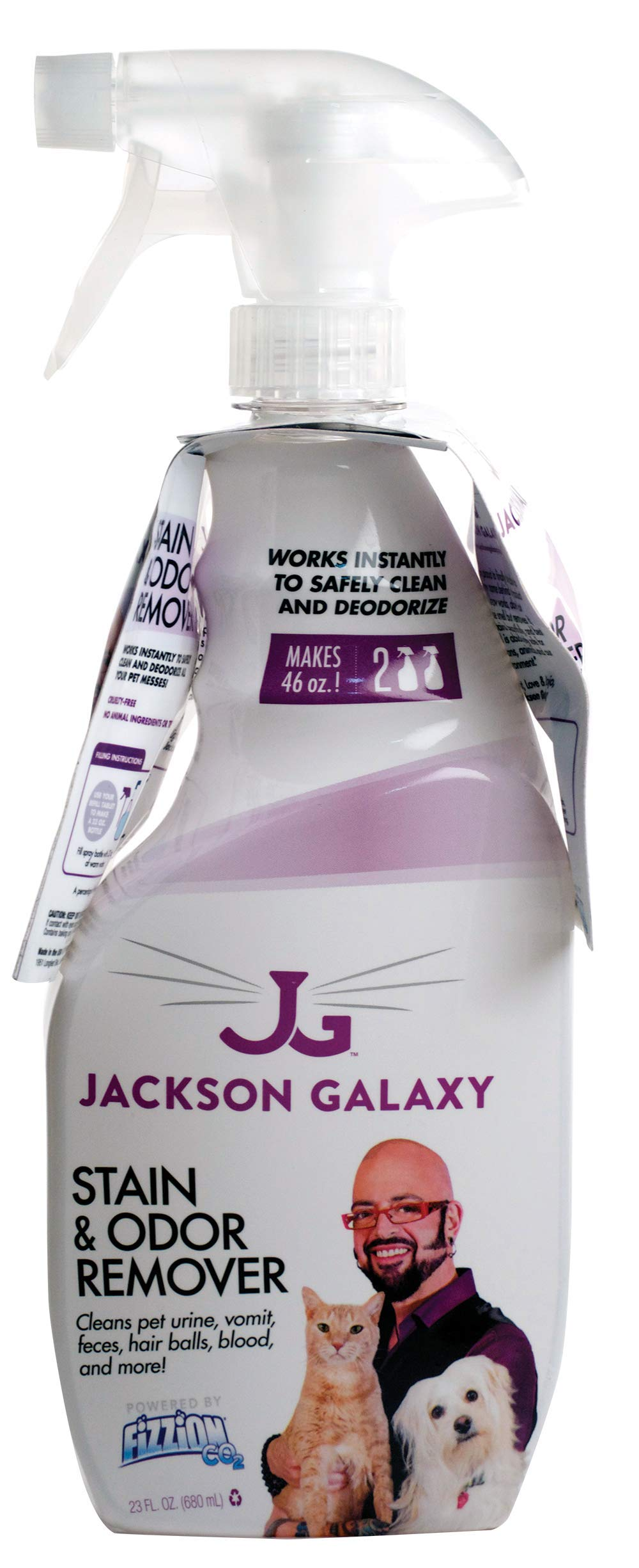 Jackson Galaxy: Stain & Odor Remover - Pet Urine Remover - 23 oz bottle - 2 Fill Tablets Included - Eliminates Pet Stains & Odors Quickly - Works On Multiple Surfaces - Non-Toxic Formula by Jackson Galaxy