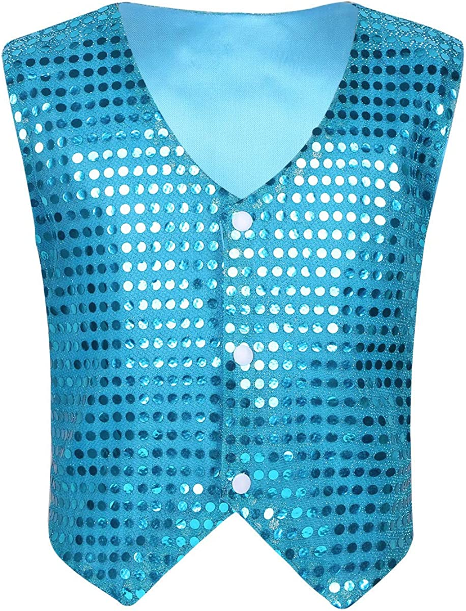 winying Boys Shiny Sequins Vest Waistcoat Jazz Dance Choir Party Costume