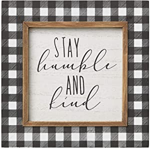 Collins Painting 'Stay Humble and Kind' Rustic Plaid Wood-Framed Sign