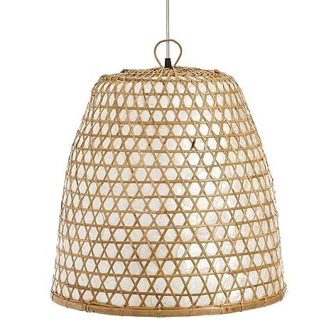 Lámpara de Techo Colgante de Rattan Beige Oriental para ...
