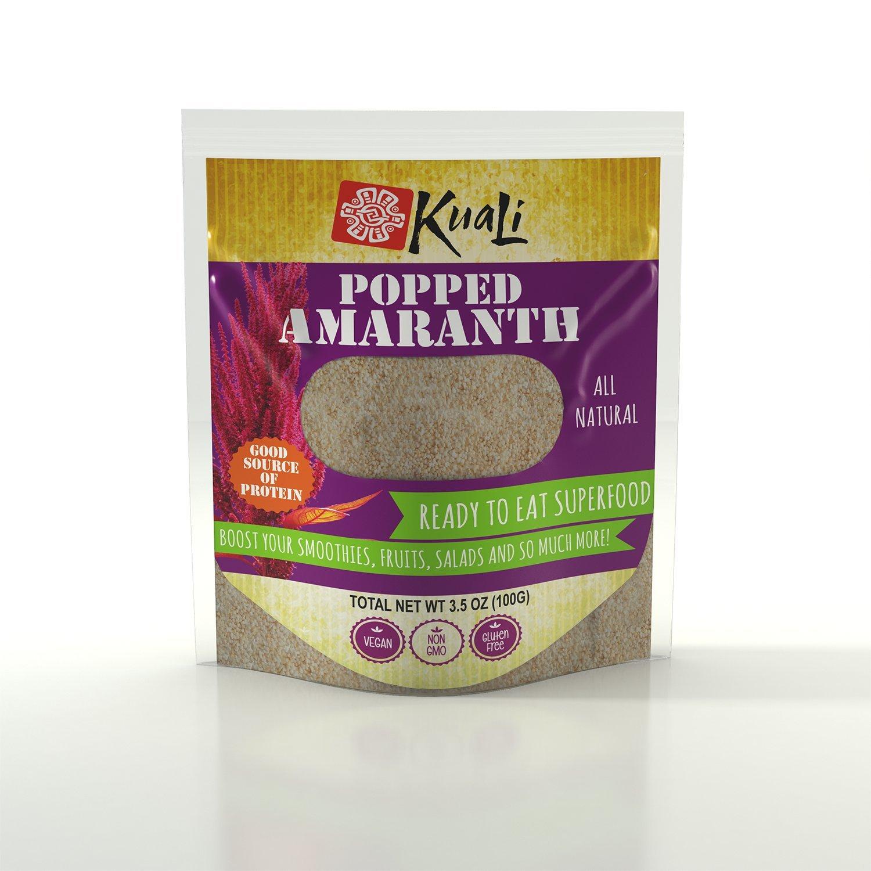 Kuali Popped Amaranth - Puffed Amaranth - All Natural - Amaranto Reventado - Kiwicha - Rajgira - Alegria - Vegan - Complete Protein - Breakfast Cereal - Gluten Free by Kuali