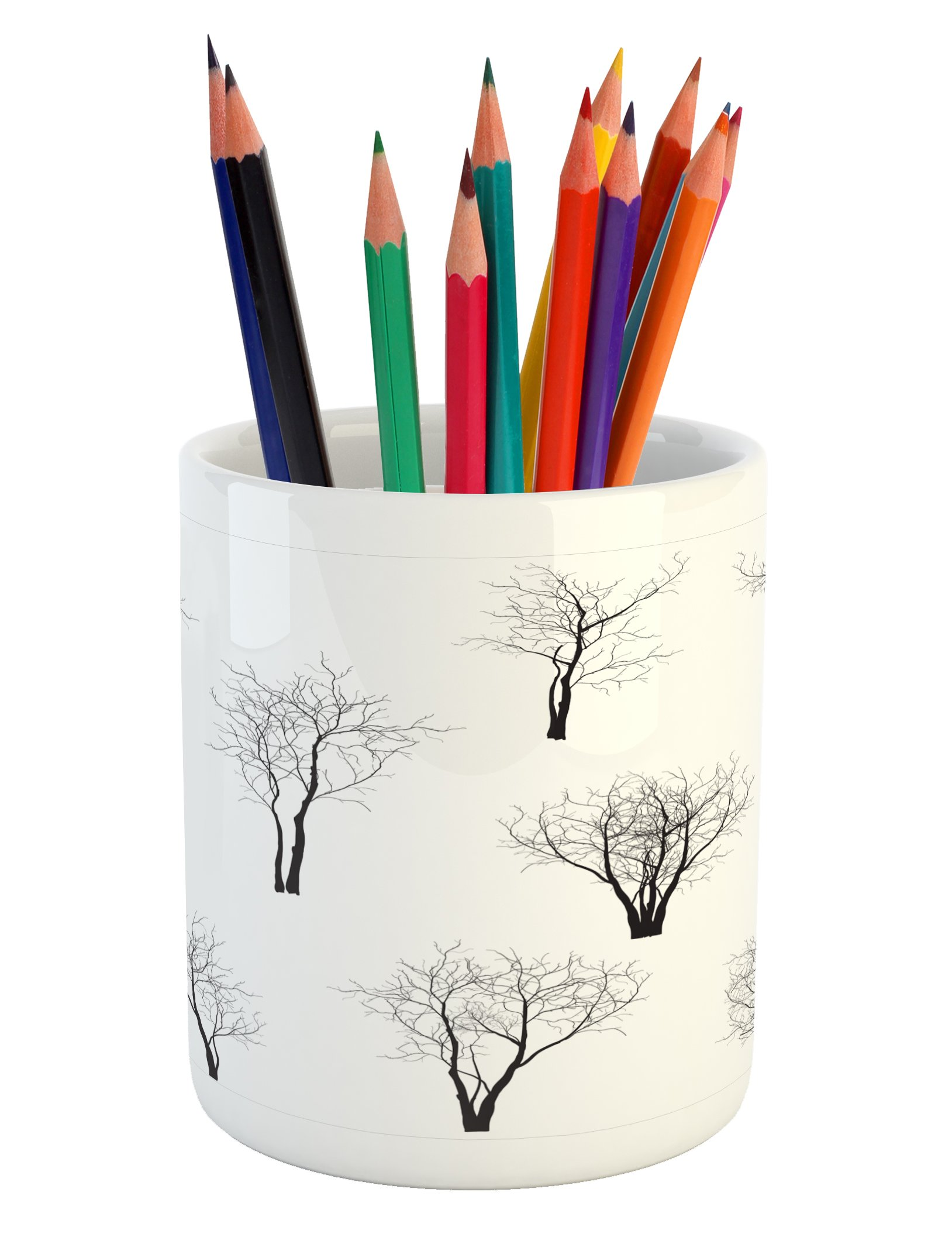 Ambesonne Forest Pencil Pen Holder, Spooky Horror Movie Themed Branches in the Forest Trees Nature Artwork Print, Printed Ceramic Pencil Pen Holder for Desk Office Accessory, Black and White by Ambesonne