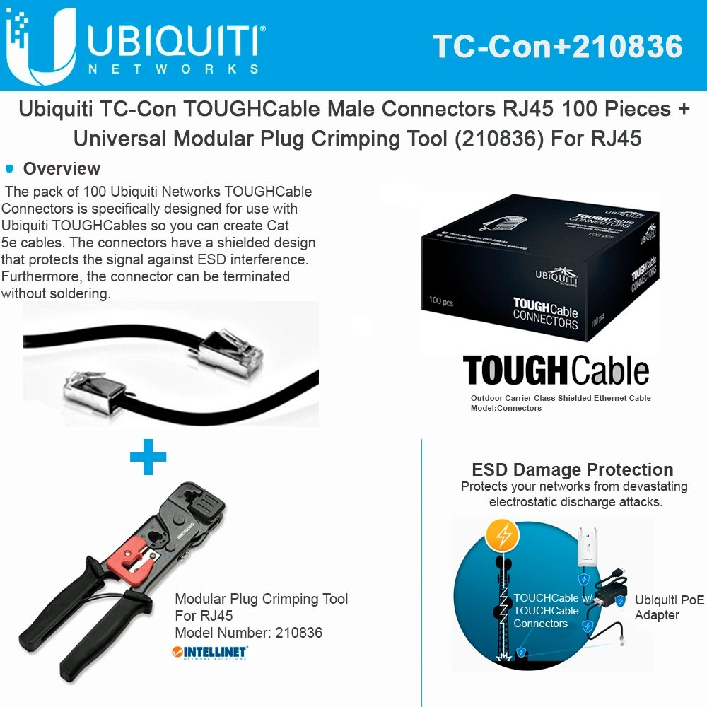 Ubiquiti TOUGHCable TC-Con RJ45 Male Connectors 100Piece +Crimping-Tool For RJ45 by Ubiquiti Networks