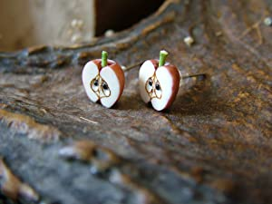 Carved bone Apple earrings,Miniatures Food Fruit,Handmade,Nature Botanical,forbidden fruit,Tiny apple,Cute Apple,Small Half Apple,Minimalist