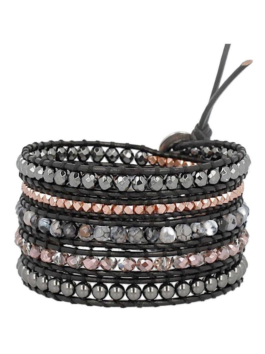 Chan Luu Black Copper Mix Sectioned Wrap Bracelet on Black Leather